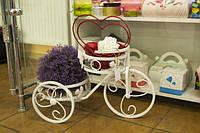 Подставка для цветов Велосипед 2 белая
