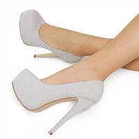 Серые женские туфли на шпильке и платформе 154561 39,36