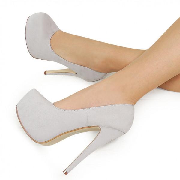 Купить Серые женские туфли на шпильке и платформе 154561 39,36 ... 1b7a085aa24