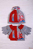 Комплект 3-ка(шапка,шарф,перчатки) для мальчика чорно-красного цвета No name 2000000228648