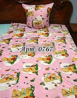 Комплект постельного в детскую кроватку, манеж МИШКИ, сердце 0767 М