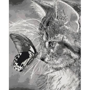 "Картина по номерам Животные, птицы ""Котёнок и бабочка"" KHO2499                                              , фото 2"