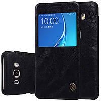 Кожаный чехол (книжка) Nillkin Qin Series для Samsung J710F Galaxy J7 (2016) Черный