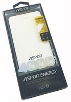 Портативное зарядное устройство Aspor 4000 mAh (Polymer, 100% емкость)