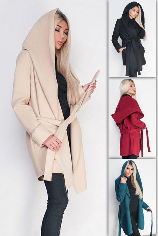 Пальто женское с капюшоном  -Лагерта-
