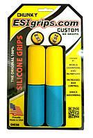 Грипсы ESI Chunky Custom (желто-голубые)