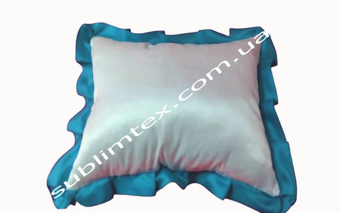 Подушка атласная,натуральный наполнитель,метод печати сублимация,размер 35х45см,цвет Рюши голубой, фото 2