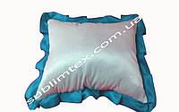 Подушка атласная,искусственный наполнитель,метод печати сублимация,размер 35х45см,цвет Рюши голубой