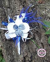 Бутоньерка с синий орхидеей. Бутоньерка  для жениха или свидетеля. Букетик.