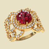 Кольцо  женское серебряное Рубиновое счастье ВКЕ-1581, фото 2