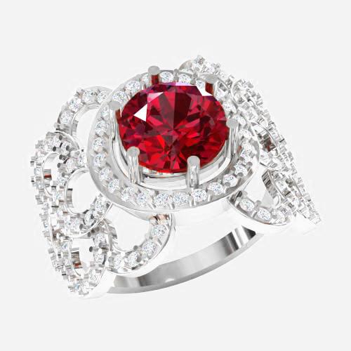 Кольцо  женское серебряное Рубиновое счастье ВКЕ-1581