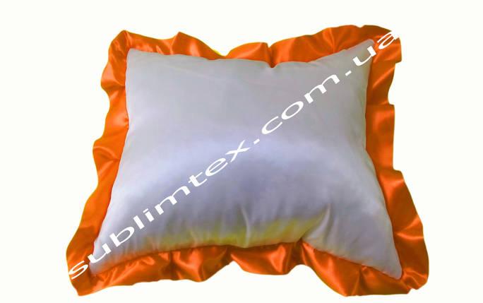 Подушка атласная,натуральный наполнитель,метод печати сублимация,размер 35х45см,цвет Рюши оранжевый, фото 2