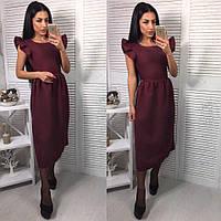 Женское стильное платье миди из габардина