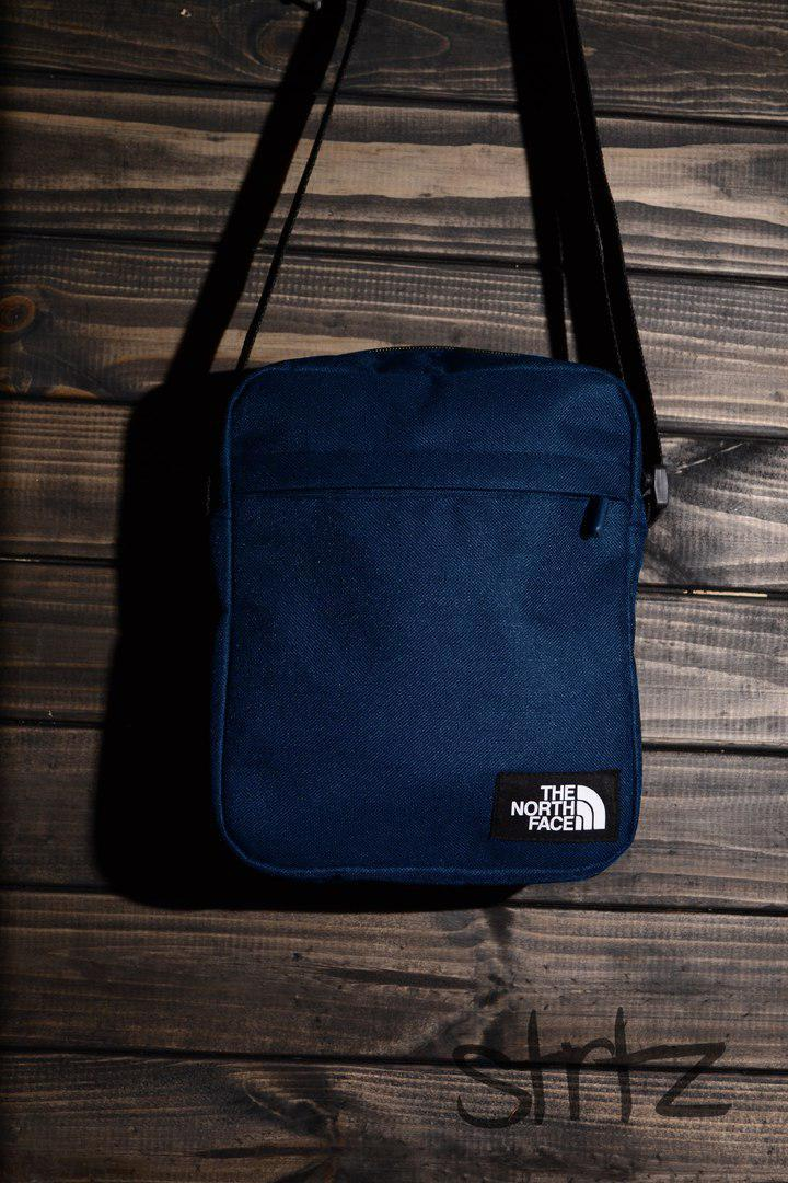 Популярная сумка мессенджер норт фейс, барсетка синяя The North Face