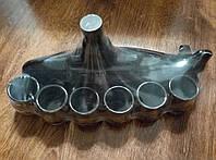 """Штоф """"Подводная лодка и 6 рюмок"""". Славянская керамика. Посуда керамическая. Сувениры, керамика."""