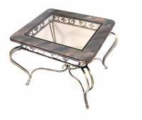 Столиз стекла и металла прямоугольный с закругленными краями