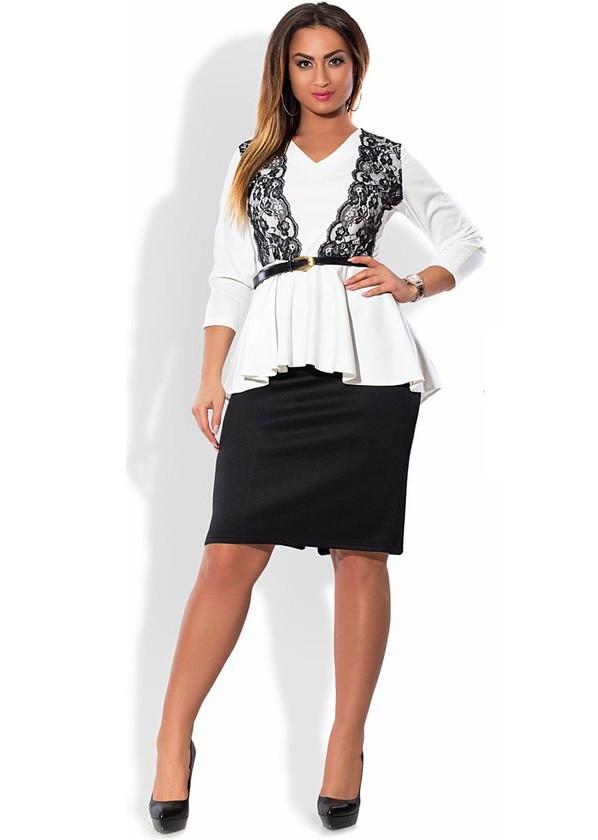 Бело-черный костюм с поясом размеры от XL 4040