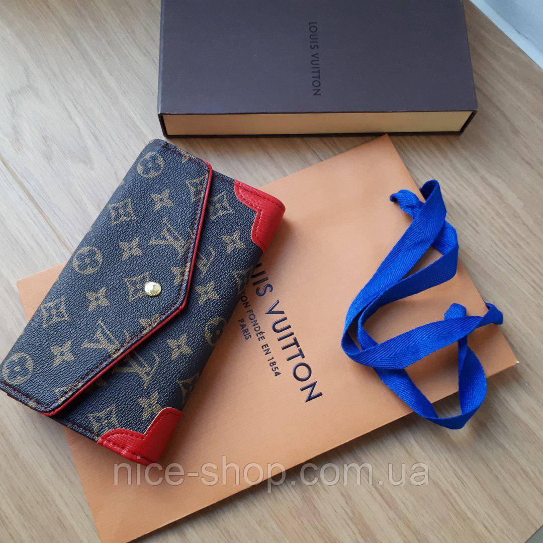 Кошелек Louis Vuitton раскладной на кнопке, с красными вставками в коробке