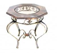 Стол из стекла и металла восьмигранный