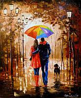«Яркая прогулка с другом» картина маслом