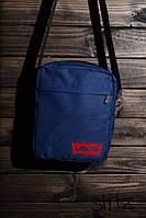 Современная сумка мессенджер левайс, барсетка синяя Levi's
