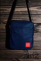 Современная сумка мессенджер стон исланд, барсетка синяя Stone Island