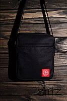 Отличная сумка мессенджер стон исланд, барсетка черная Stone Island