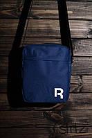 Модная сумка мессенджер рибок, барсетка синяя Reebok