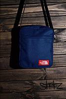 Молодёжная сумка мессенджер норт фейс, барсетка синяя The North Face