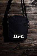Стильная сумка мессенджер юфс, барсетка черная UFC
