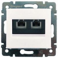Механизм розетки компьютерной RJ45 кат.6e UTP двойной белый 774247 Legrand Valena