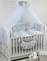 """Детский постельный комплект Asik 8 эл-в """"Мишки на луне"""" № 283, серо-кремовый, фото 1"""