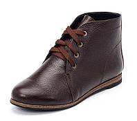Женские коричневые демисезонные ботинки из натуральной кожи с шнуровкой на подошве с низким каблучком