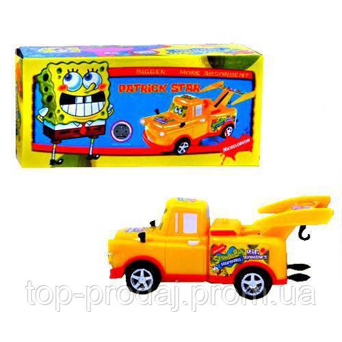Детская машинка CD 2011-1 Спанч Боб, музыка, свет,в коробке, 20-9-10см, игрушка