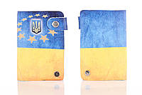 Кожаная кредитница на кнопке Флаг Украины 20 карт