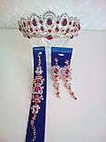Корона під золото з червоними камінцями, висота 6,5 див. Біжутерія для конкурсу, фото 8