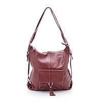 Женская сумка-рюкзак кожаная темно-красная (натуральная кожа)