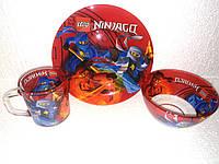 Набор детской стеклянной посуды Ниндзяго