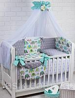 """Детский постельный комплект Asik 8 эл-в  """"Мятные слоники и серые звёзды"""" № 281, серо-мятный, фото 1"""