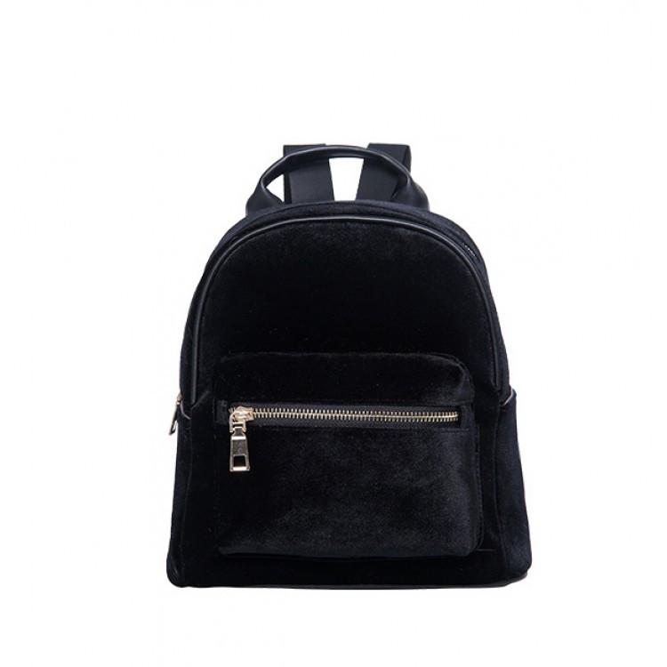 Рюкзак женский велюровый Adel черный eps-8147