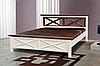"""Кровать """"Нормандия"""" из сосны (ваниль + тёмный орех)"""