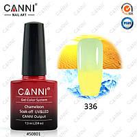 Гель-лак термо Canni 336 лимонный - пастельный салатовый 7,3ml, фото 1