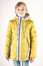 Демисезонная детская куртка Оля оливка-серый (30-38)