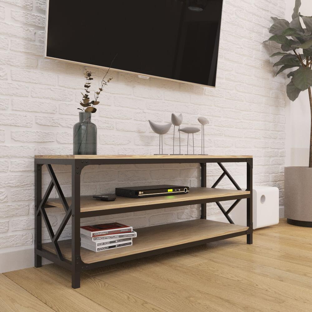 Тумба для ТВ в стилі Лофт Ромбо Метал-Дизайн
