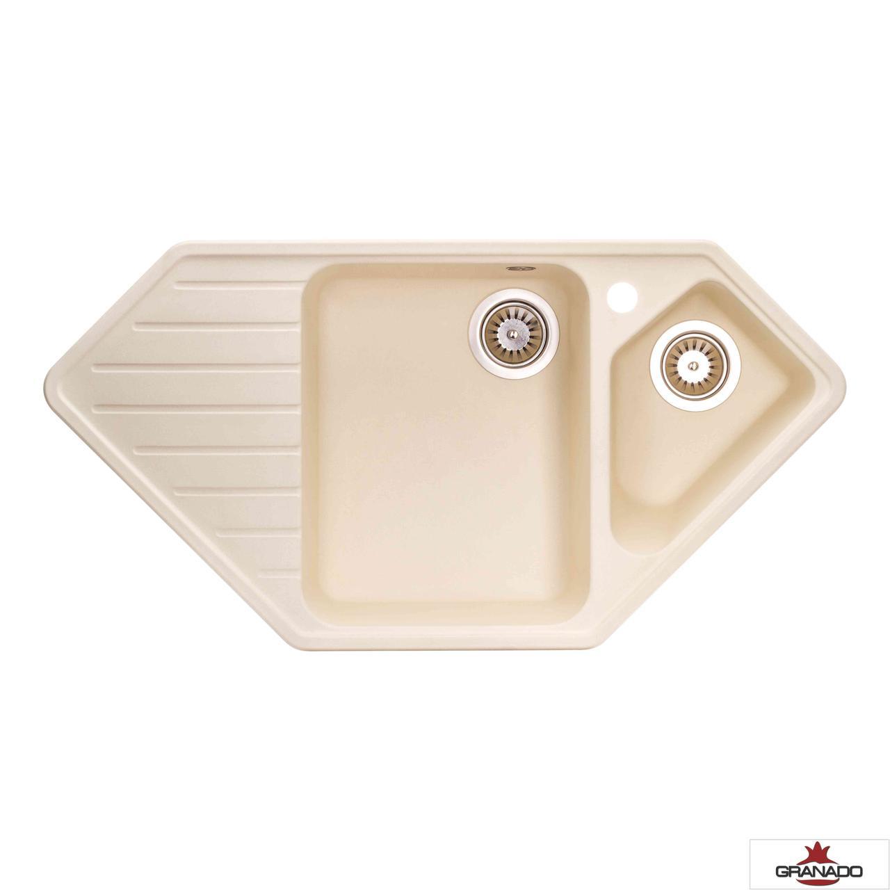 Мойка угловая на кухню с евросифоном 98*50 см Granado IBIZA Ivory 1804