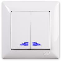 Gunsan Visage Выключатель двухклавишный с подсветкой белый