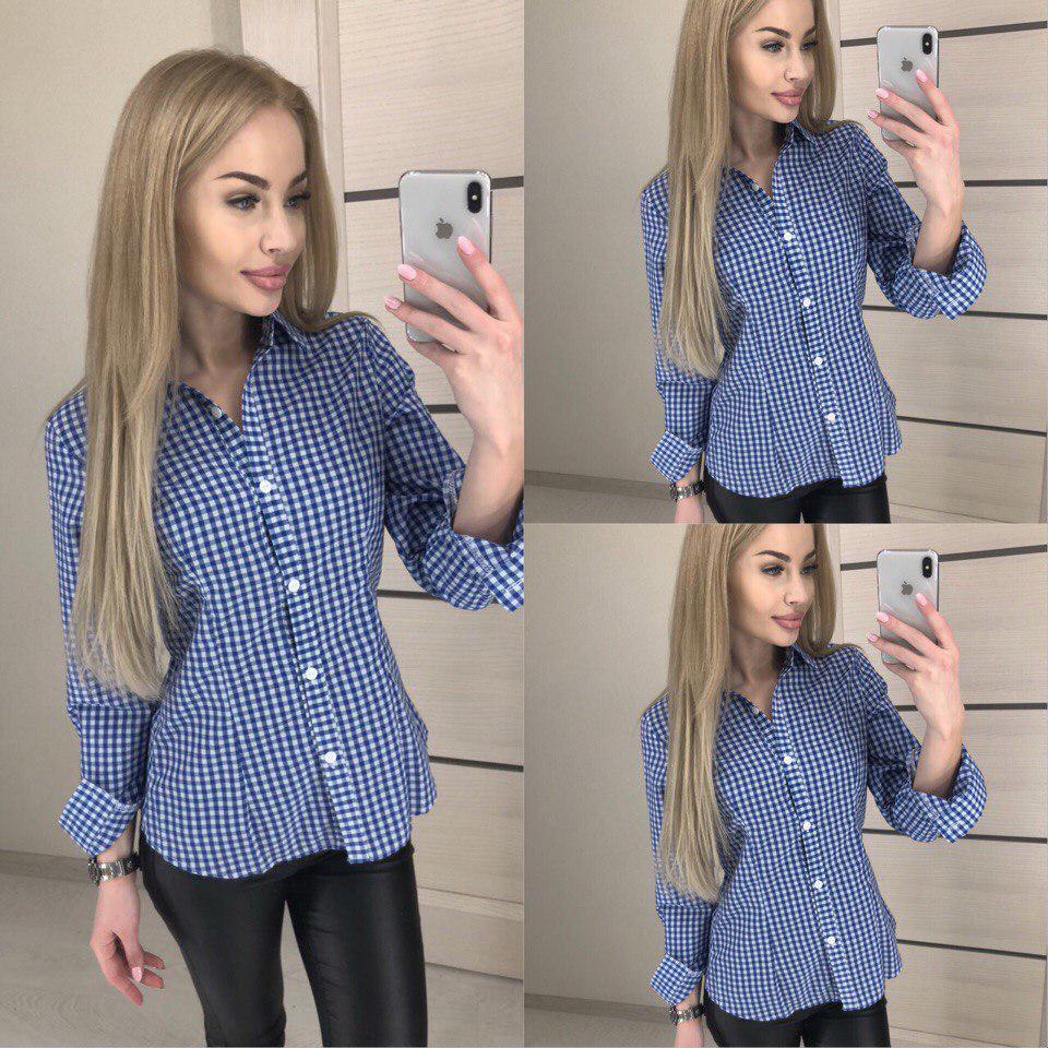 93d2372ac Женская стильная рубашка в мелкую клетку -