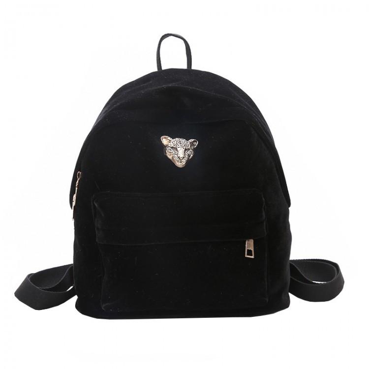Рюкзак женский велюровый Adel Leopard черный eps-8061