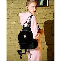 Рюкзак женский велюровый Adel Leopard черный eps-8061, фото 2
