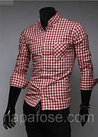 Рубашка мужская в красную клетку